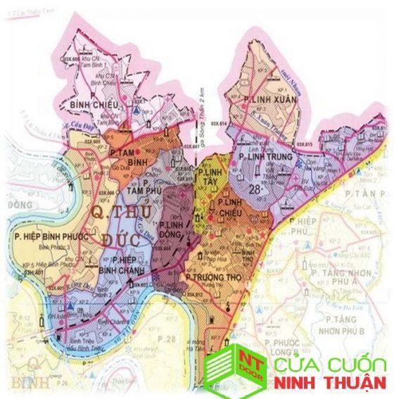 Bản đồ khu vực sửa cửa cuốn tại thủ đức tp.hcm