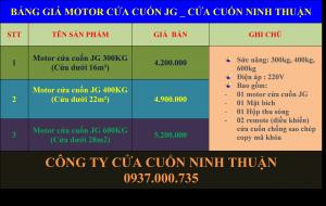 BẢNG GIÁ MOTOR CỬA CUỐN JG TẠI CỬA CUỐN NINH THUẬN TPHCM