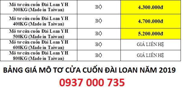 Bảng giá motor cửa cuốn YH  đài loan 2019 tp hcm