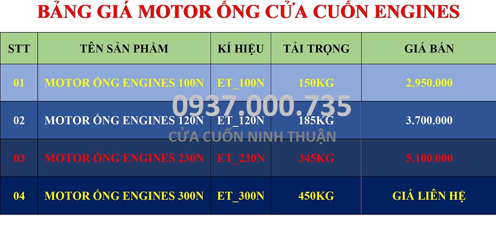 BẢNG GIÁ MOTOR ỐNG ENGINES 100N, 120, 230N, 300N, ĐẠI LÝ MOTOR ỐNG TẠI TP.HCM
