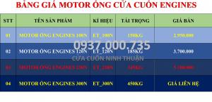 BẢNG GIÁ GỐC MOTOR ỐNG ENGINES 100N, 120, 230N, 300N, ĐẠI LÝ MOTOR ỐNG TẠI TP.HCM
