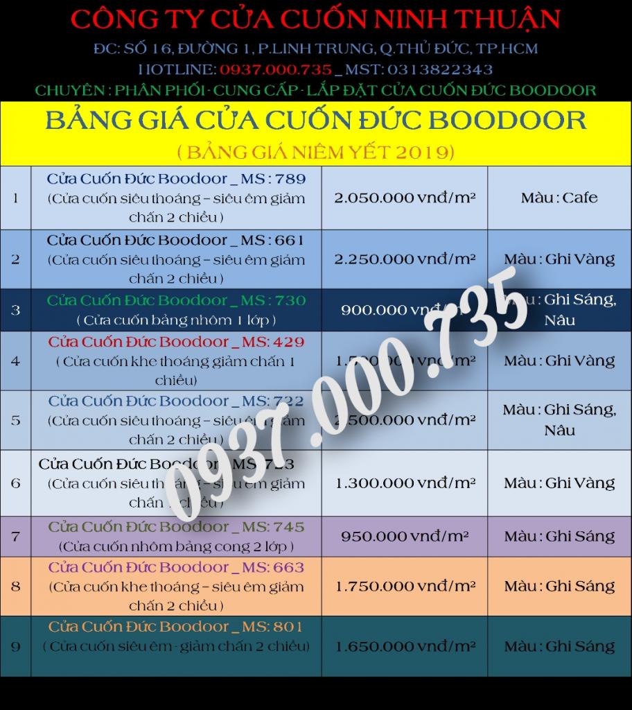 Bảng giá cửa cuốn đức Boodoor sỉ và lẻ mới nhất 2019