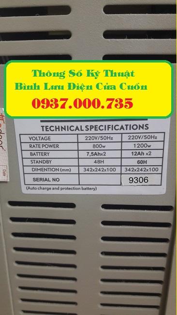 Công dụng bình lưu điện cửa cuốn, thông số kỹ thuật bình lưu điện cửa cuốn - chuyên cung cap binh luu dien cua cuon